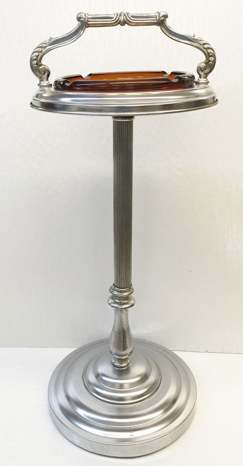 Details About Vintage Golden Glo Ashtray Stand W Amber 8