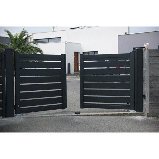 Portail Battant Motorise Aluminium Bono Gris Naterial L 300 Cm X H 125cm Portail Maison Facade Maison Porte Moderne