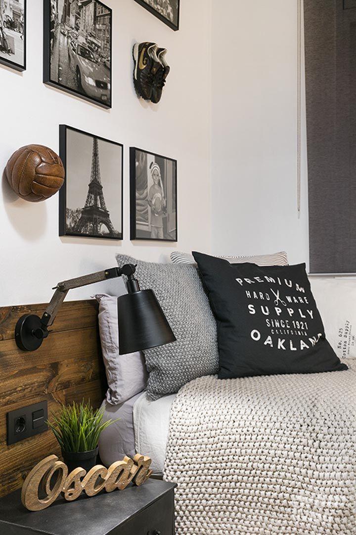 Habitaci n juvenil juego de grises habitacion y ambiente pinterest decoraci n de - Decoracion habitacion juvenil masculina ...