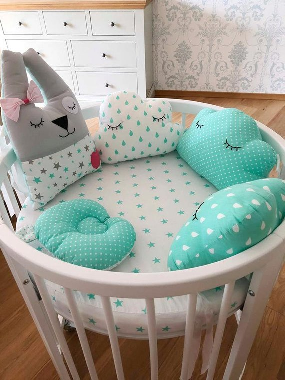 COT BED BUMPER made from 6 cushions BLUE STARS soft pillows PILLOW BUMPER COT
