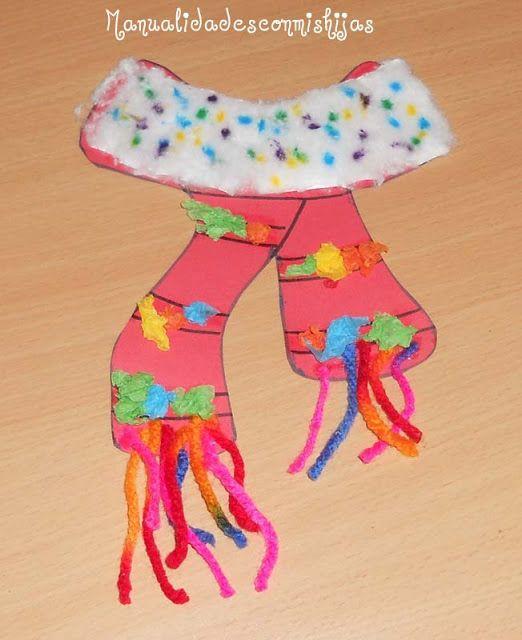 Manualidades con mis hijas bufanda de cartulina con bolitas de papel algodon kids craft - Manualidades con papel craft ...