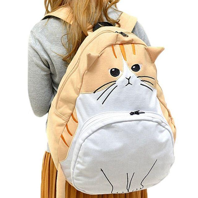 Saco a dos orejas gato lindas mochilas escolares para chicas