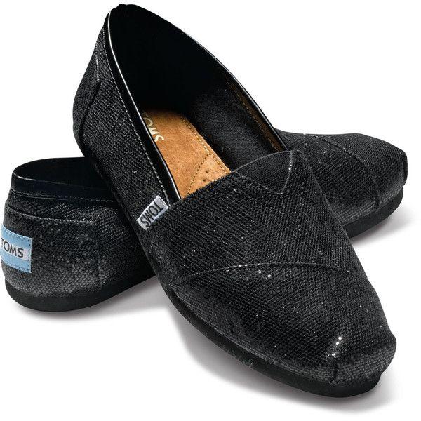Black glitter shoes, Toms shoes women