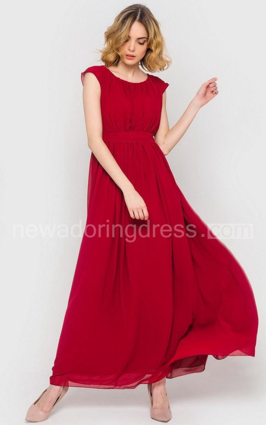 Long chiffon capsleeve bridesmaid dress with sash for my best