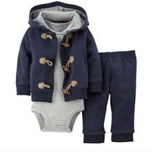 57da01fca1be Carters Newborn 3 6 9 12 18 24 Months Cardigan Bodysuit Set Baby Boy ...