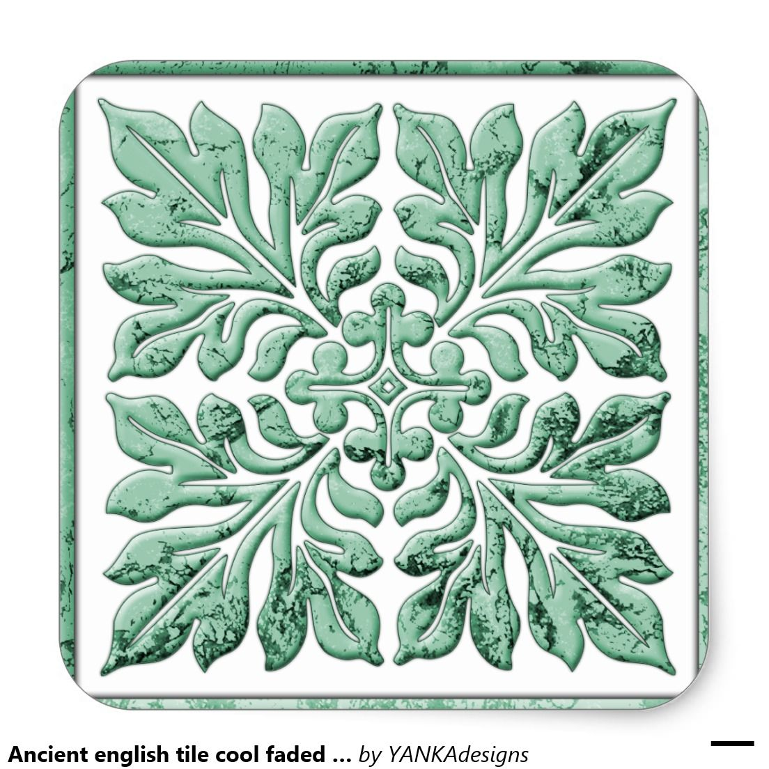 Ancient english tile cool faded green square sticker | Stuff SOLD on ...