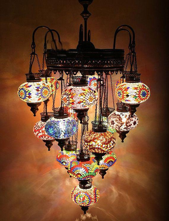 16 ball 110-230v EXTRA LARGE Turkish Moroccan Hanging Glass Mosaic ...