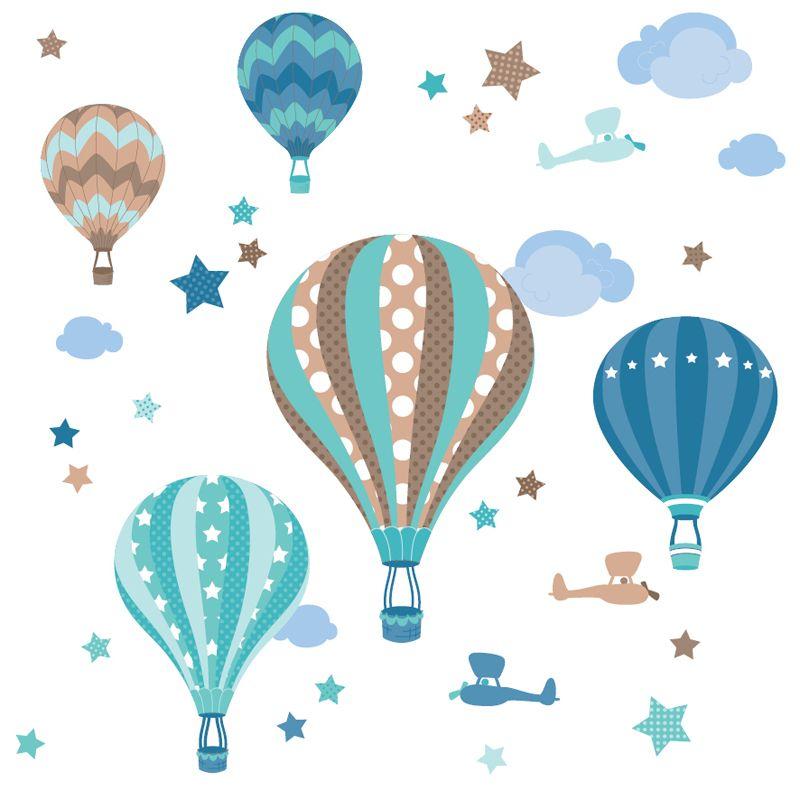 Spectacular Kinderzimmer Wandsticker Hei luftballons mint taupe teilig