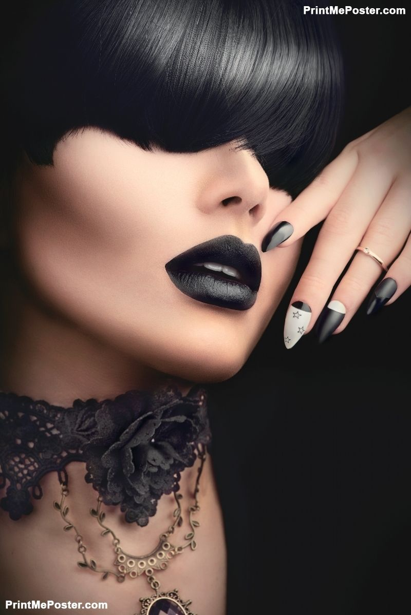 High Fashion Model Girl Portrait With Trendy Gothic Black Hair Style Make Up Dark Manicure And Accessories Halloween Vampire Woman Portrait With Black Matte Gothic Fashion Gothic Fashion Women Gothic Jewelry