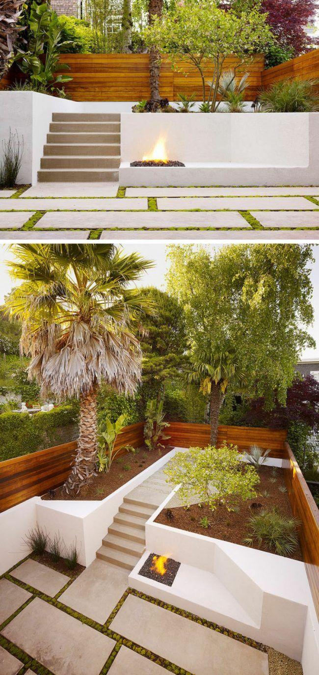 Terrasse Hang Minimalistisch Steinplatten Feuerstelle Sichtschutz