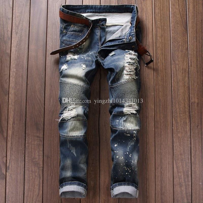 d3e2313cdeea1b 2016 Balmain Jeans Men 2016 Hot Mens Designer Jeans Famous Brand Balmain Jeans  Men Distressed Jeans