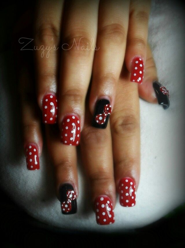Minnie mouse nails | Zuzy\'s Nails | Pinterest | Decoración de uñas y ...