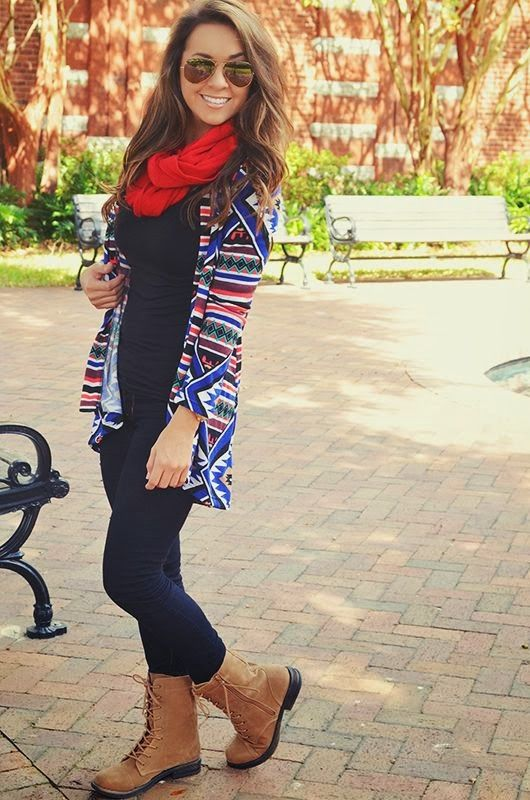 Black fall fashion with Aztec blur multi color cardigan and red scarf