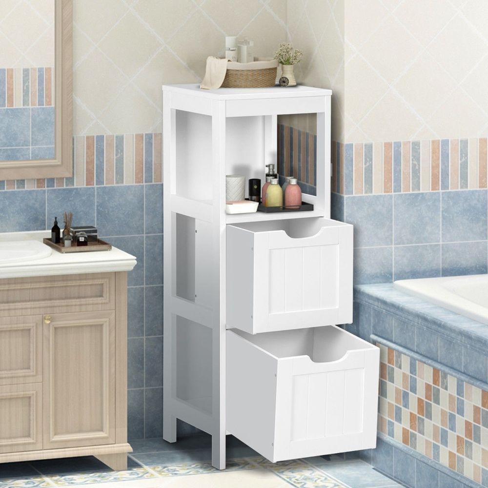 Bathroom Multifunctional Storage Floor Cabinet Organizer With 2 Drawers White Us Unbranded Bathroom Organisation White Storage Cabinets Wooden Storage Cabinet [ jpg ]