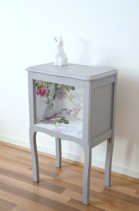 Vintage Bedside Night Table Side Table Convenient Taupe Solid