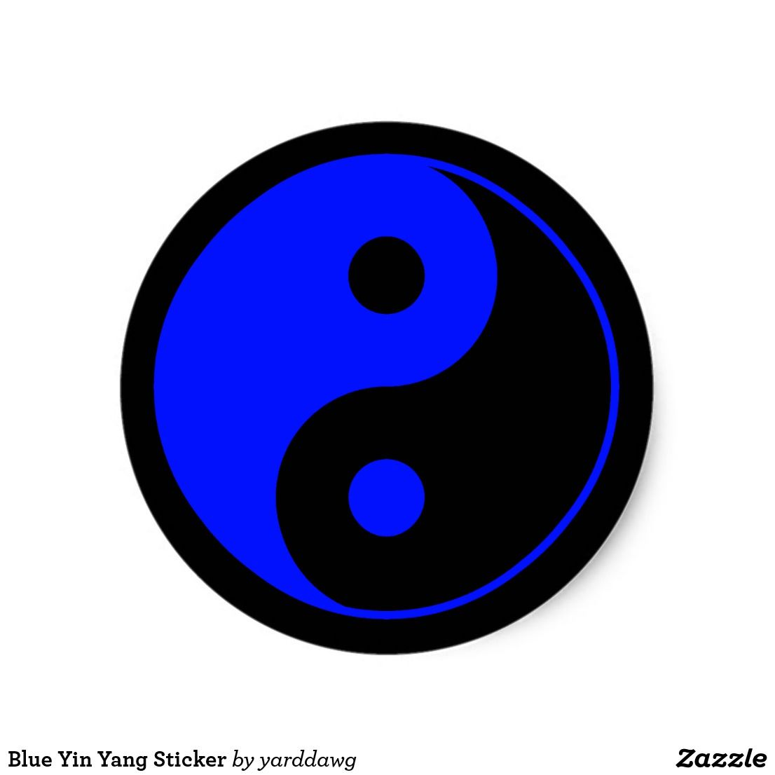 blue yin yang sticker zazzle com in