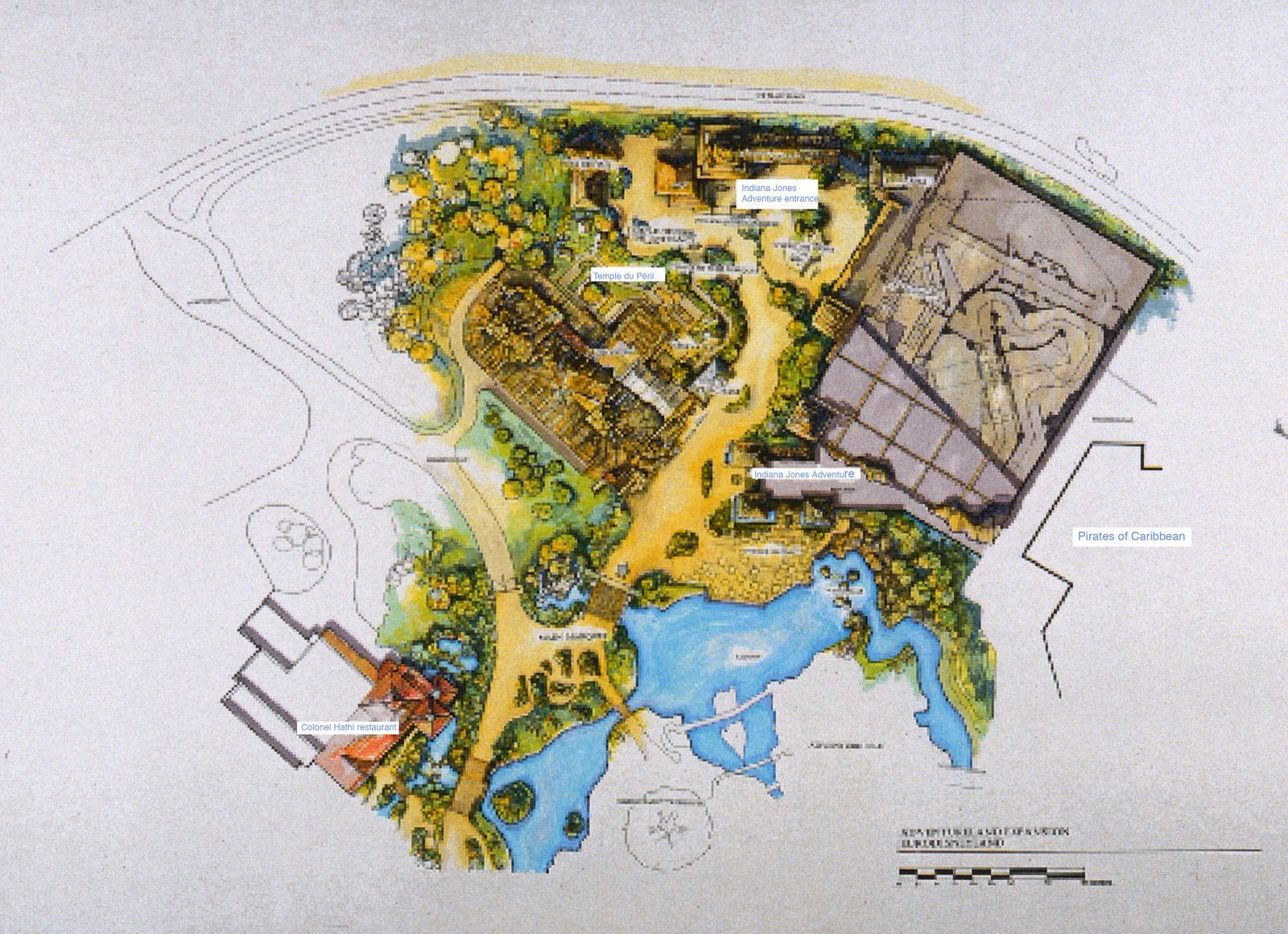 California Map Disney%0A Concept map showing the Indiana Jones Adventure ride next to Indiana Jones  et le Temple du Peril at Disneyland Paris  never built
