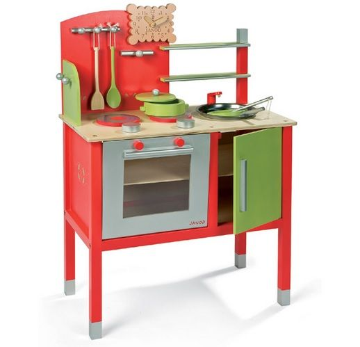 Red Play Kitchen Set red wooden play kitchen set with double stove | kids furniture