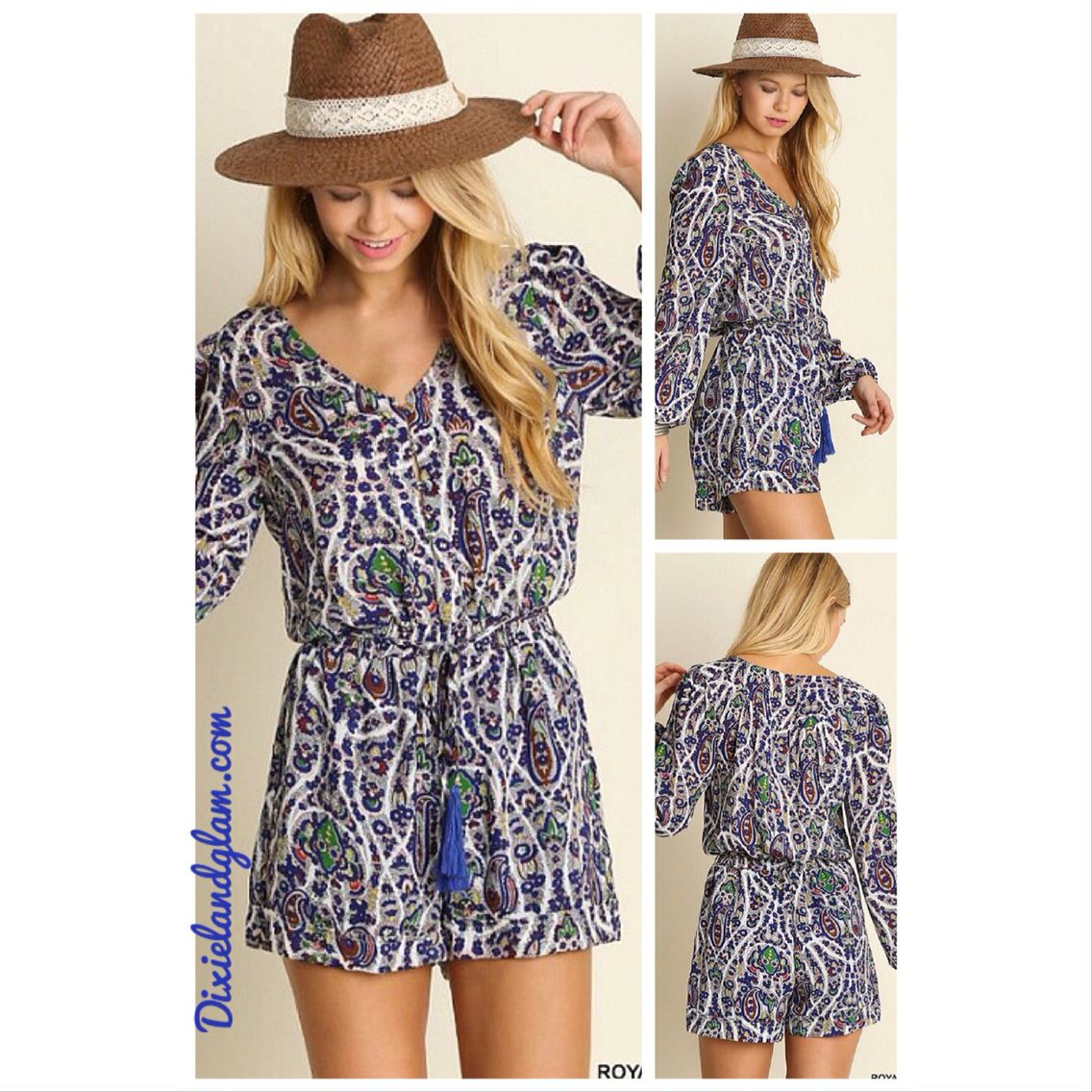 Camden Paisley Bell Sleeve Romper with button-up bodice detail, tassel tie elastic waist, front pockets & lining.
