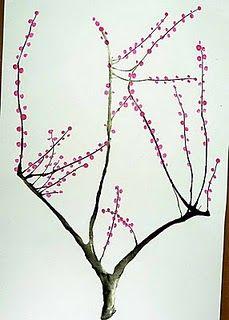 Straw India Ink Q Tip Japanese Tree Japanese Art Japanese Cherry Blossom