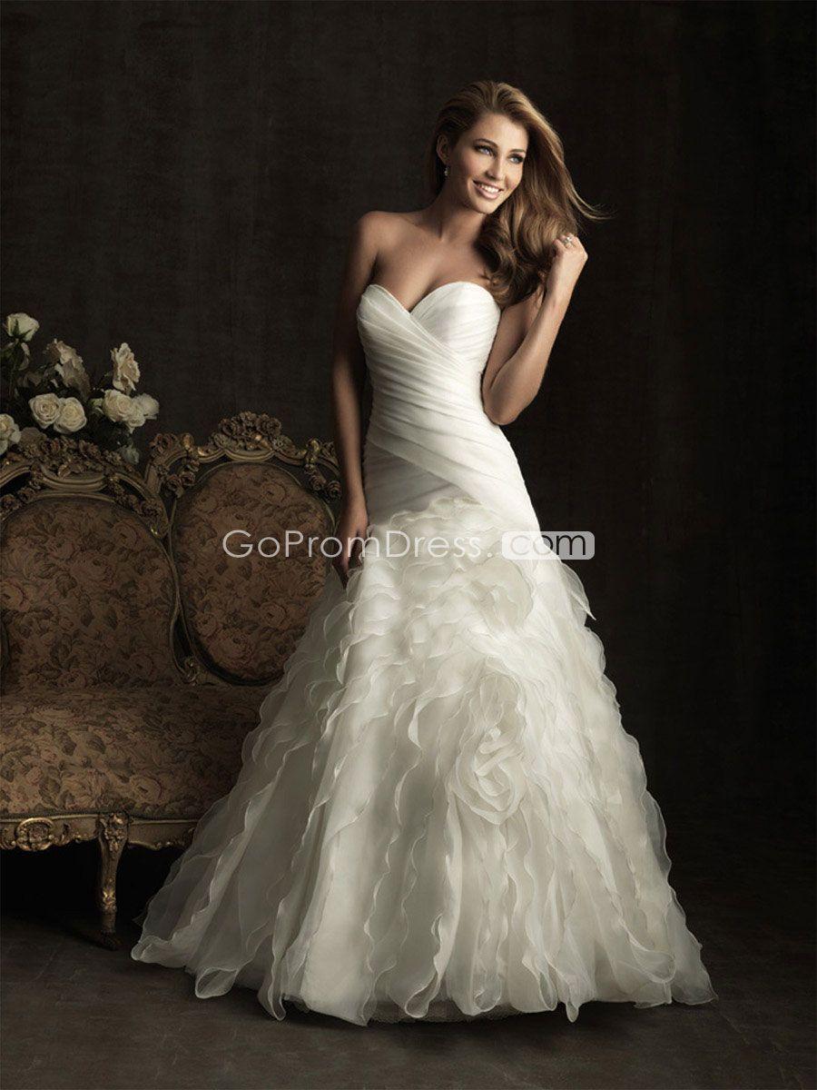 Gorgeous aline white organza pleated ruffles wedding dress