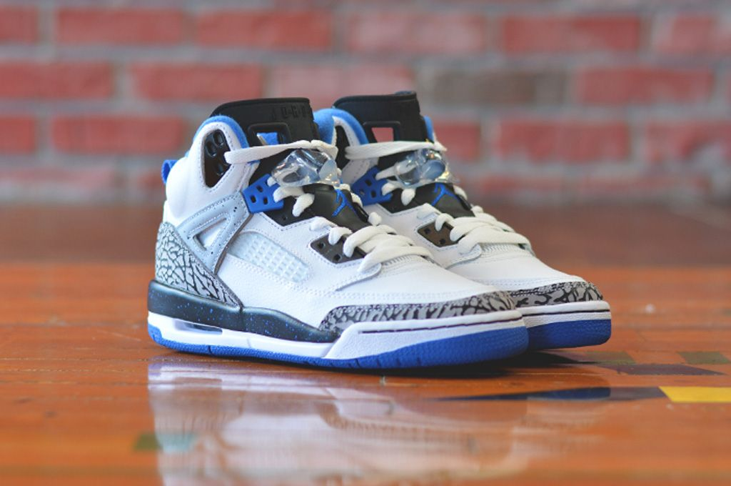 6c09712487b5 Jordan Spizike GS White Sport Blue-Black-Wolf Grey