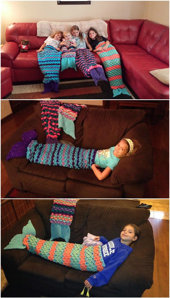 22 Free Crochet Mermaid Tail Blanket Patterns | Sirenitas, Puntadas ...