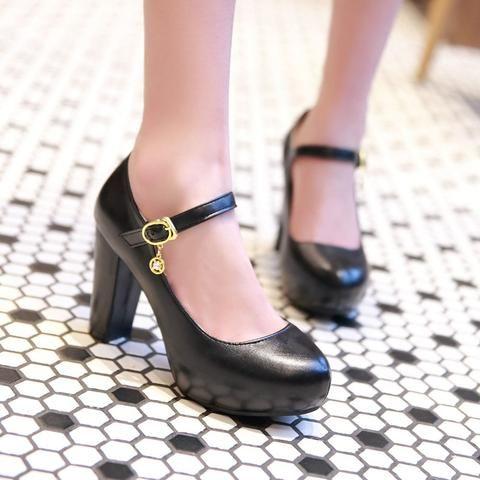 7cecc93b480 Ankle Straps Chunky Heel Pumps Platform High Heels Fashion Women Shoes 3348