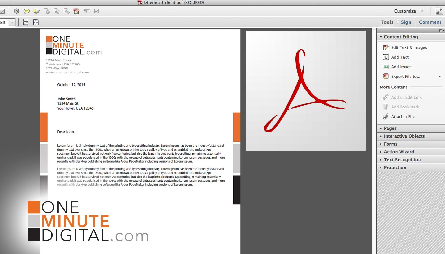 make an editable pdf letterhead and lock it from illustrator to