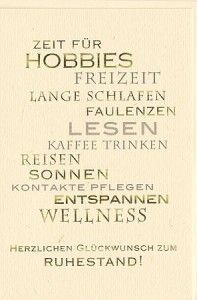 Ruhestandskarte Zeit Für Hobbies Cards Travel Good Bye