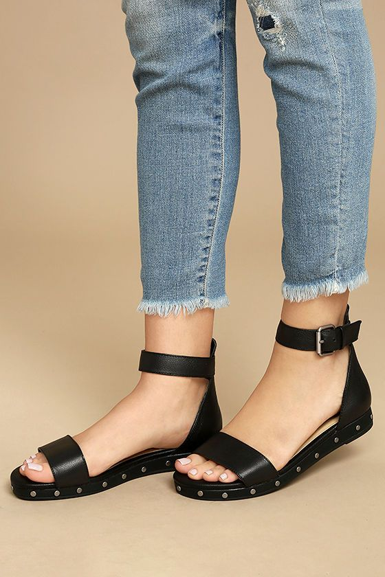 Chinese Laundry Grady Black Leather Ankle Strap Sandals Ankle