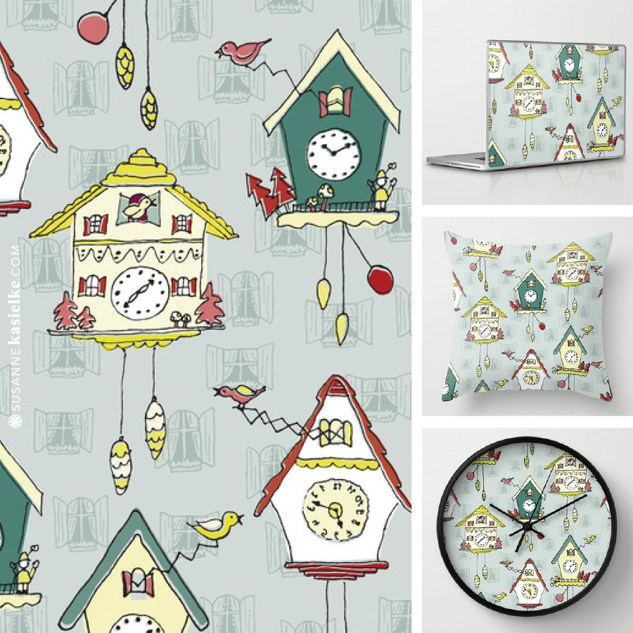 My Cuckoo Clock Cuckoo Love Design Is Available In My Society6 Shop As Print Laptop Skin Wall Clock Phone Cover Pillow Novelty Print Popular Art Prints