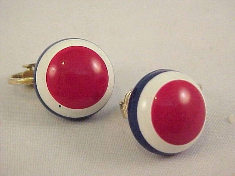 Vtg Small Patriotic Red White Blue Bullseye Button Dome Enamel Clip Earrings #Unbranded #Button