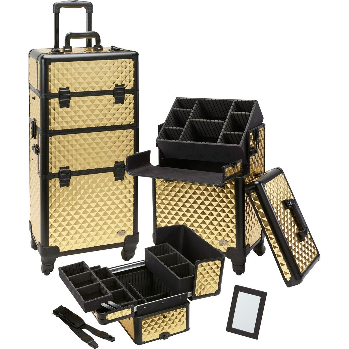 Pro Aluminum Makeup Case Gold Diamond 4 Wheeled Spinner