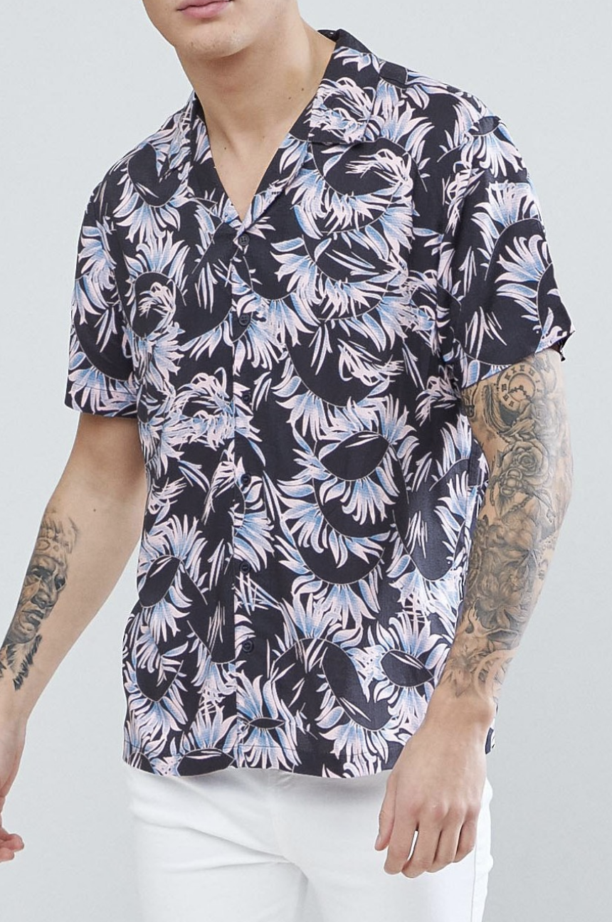 e177f1afee4 On my wish list   New Look Shirt With Leaf Print In Dark Grey from ASOS  ad   men  fashion  shopping  outfit  inspiration  style  streetstyle  fall   winter ...