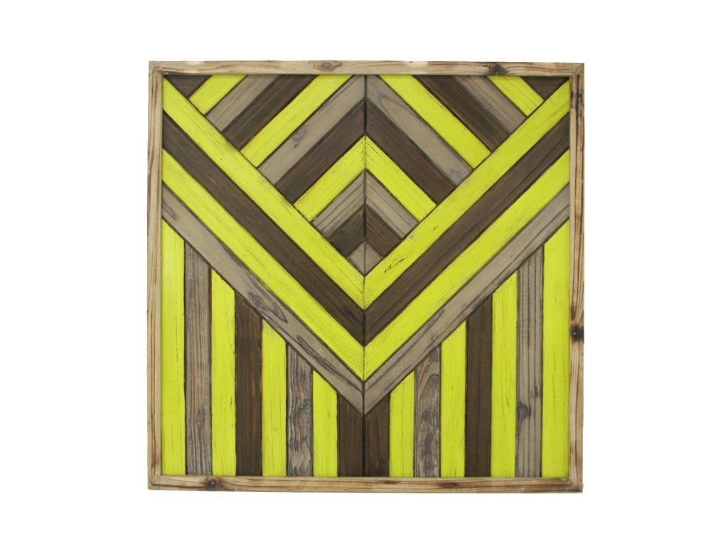 Geo Wood Wall Art   Black, Yellow   60x60cm by Safari Chic on ...