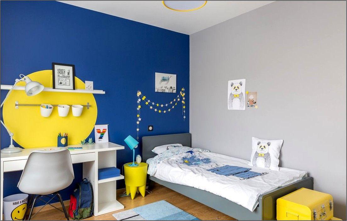 Deco Chambre Ado Bleu Jaune Gris En 2020 Deco Chambre Ado Garcon