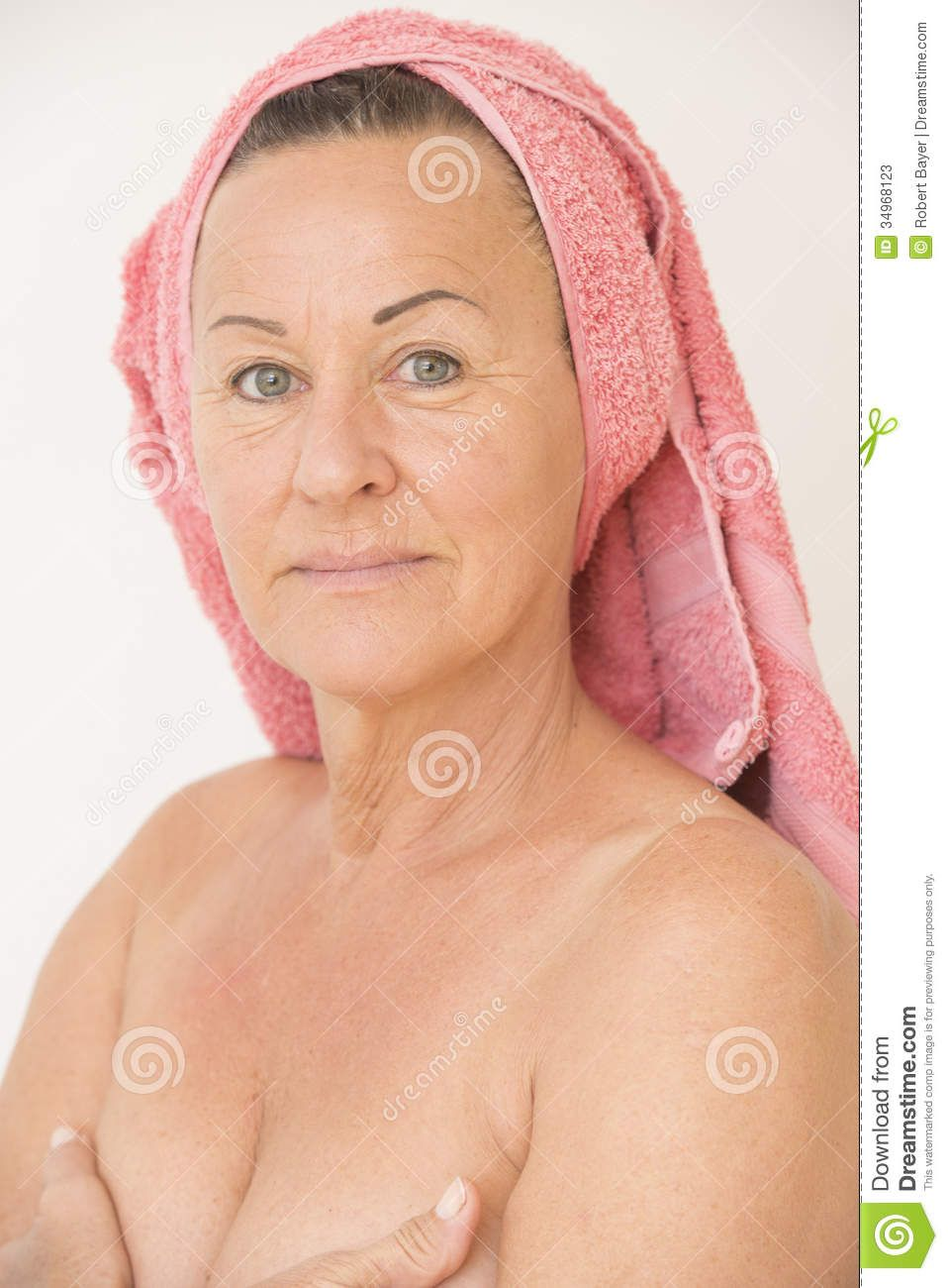 Be Happy With Your Breasts Portrait Happy Attractive Mature Woman Naked With Towel On Head And
