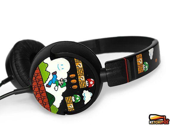a333aab70a2 Mario custom headphones painted geek birthday gift for girlfriend gift for  boyfriend nerd gamer unique headset dj earphones video game Luigi