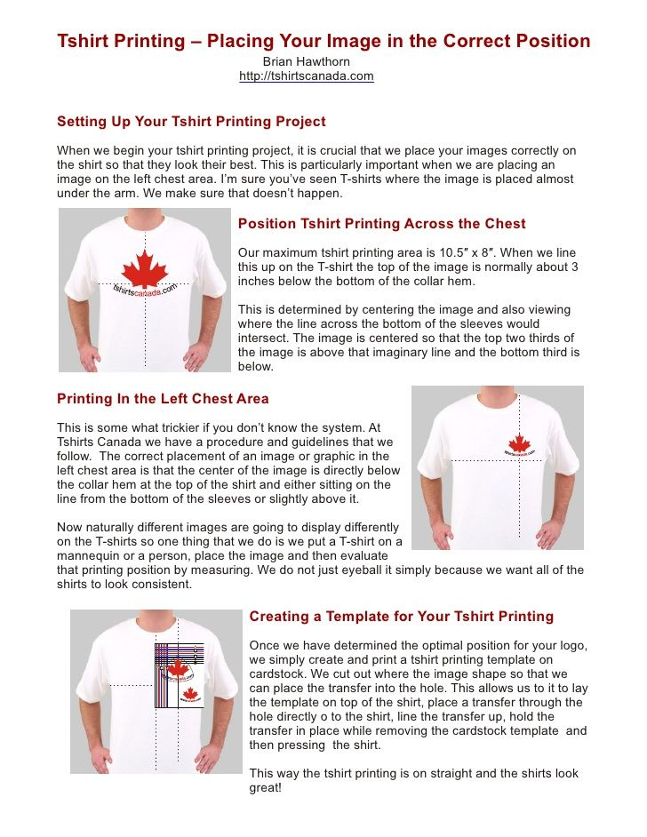 5fc2129e Tshirt Printing – Placing Your Image in the Correct Position Brian Hawthorn  .