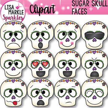 Sugar Skull Clipart Halloween Day Of The Dead With Emoji Faces Sugar Skull Face Clip Art Sugar Skull Artwork