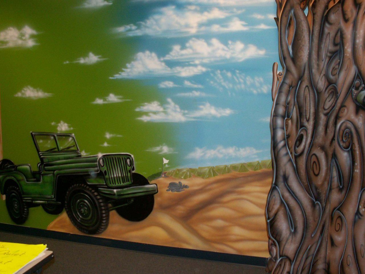 Airbrushed Jeep Cj Mural For Kids Room Jeep Art Mural Murals For Kids