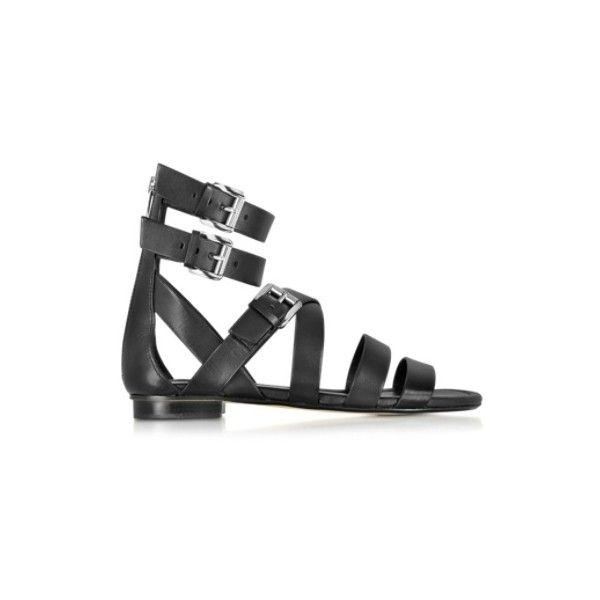 6968e8abeab6c7 Michael Kors Jocelyn Black Leather Flat Sandal ( 123) ❤ liked on Polyvore  featuring shoes