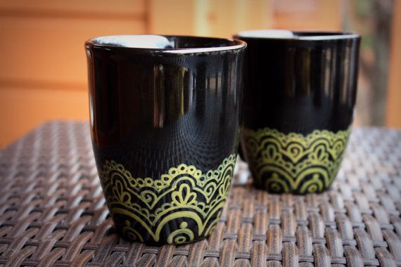 Matching Black and Gold Henna Lace Coffee Mugs - Set of 2. $14.00, via Etsy.