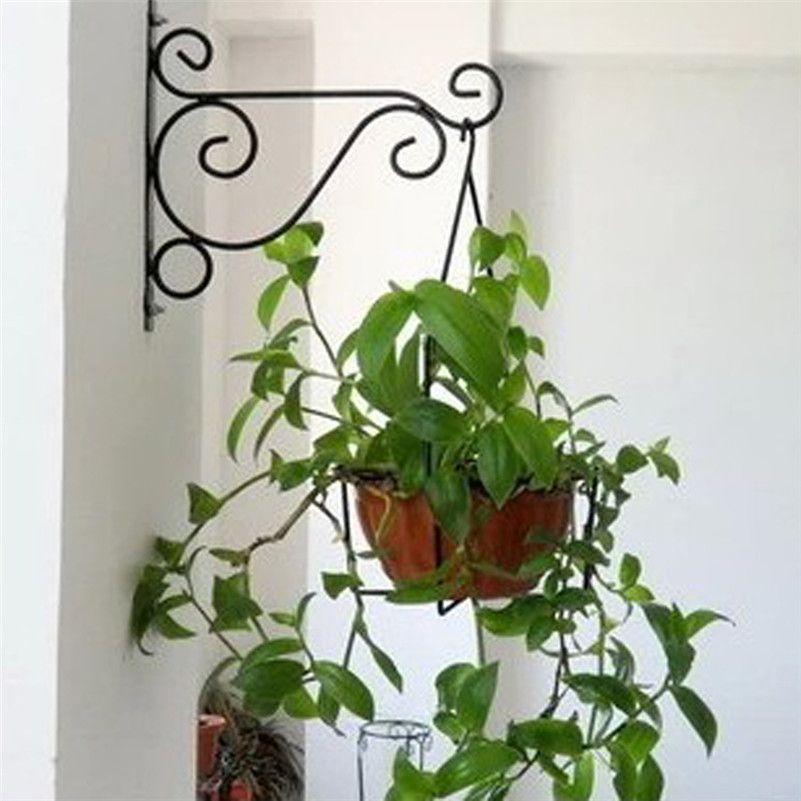Home Garden Decor Iron Wall Hook Hanging Plant Flower Flowerpot Art Shape  Wall Mounted Bracket Hook