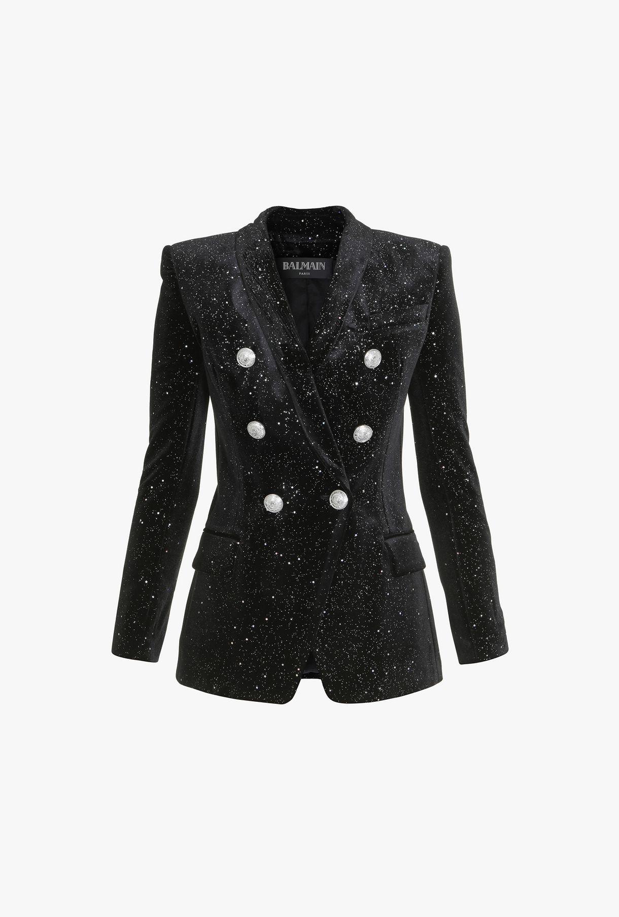 f735ba8c876 BALMAIN Oversized double-breasted velvet blazer Jacket Woman f ...