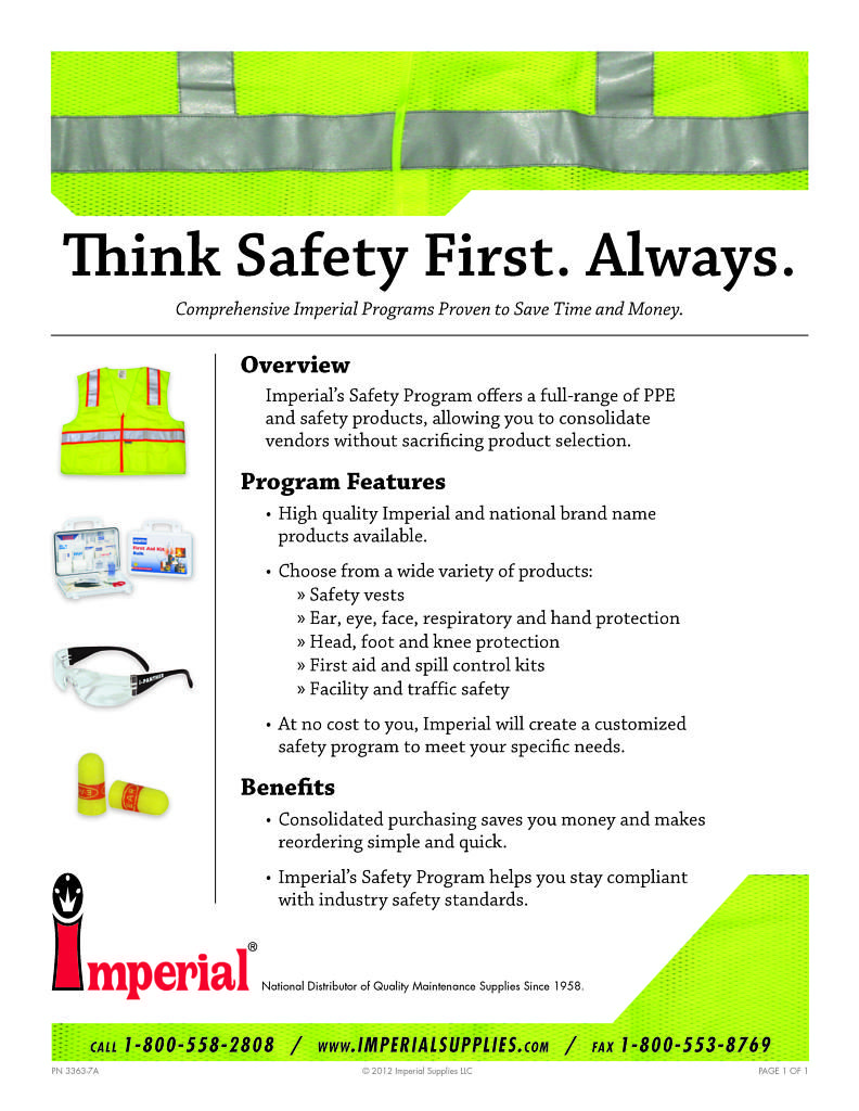 Imperial Safety Products Sell Sheet A Tailored Occasions