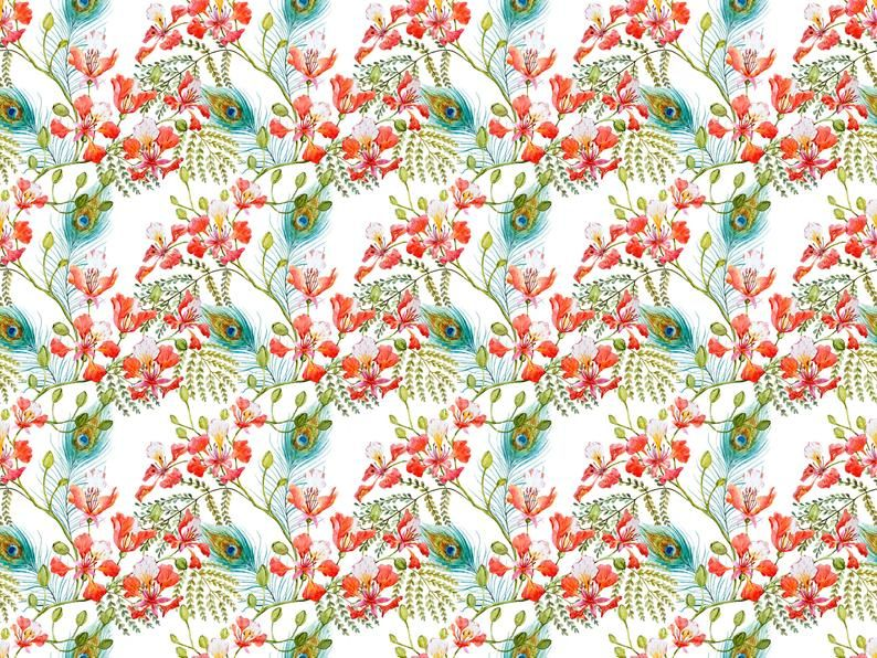 Vintage Floral Wallpaper, Peacock Feathers, Flower Pattern