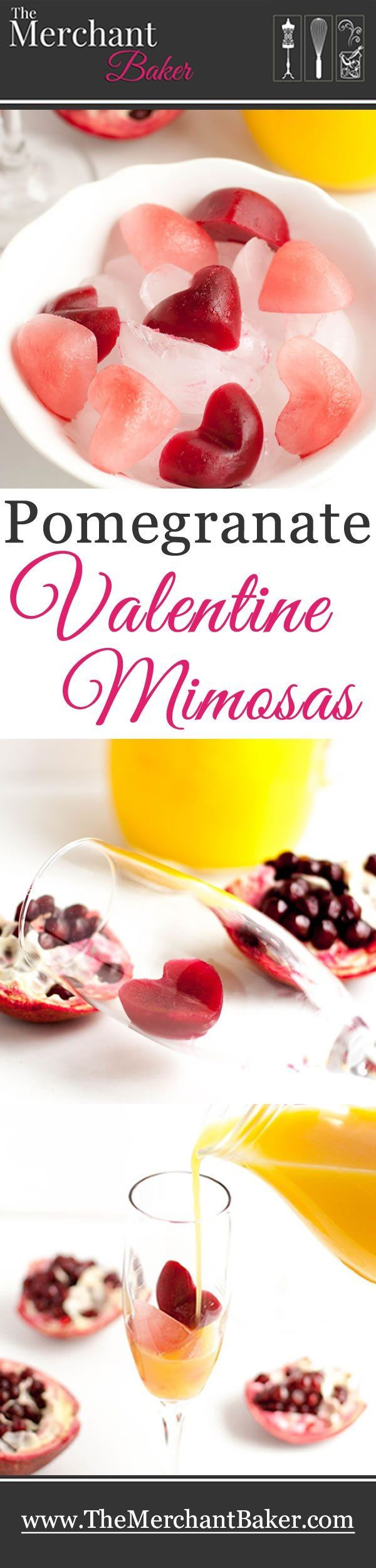 Classic mimosas get a festive valentine twist with pomegranate juice hearts! Fresh orange juice and sparkling wine complete this refreshing drink. Go mocktail with seltzer or kid friendly with lemonade!