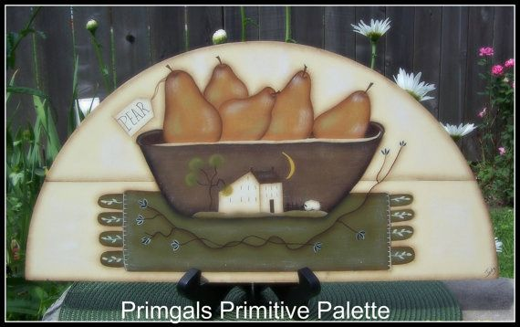Primitive Door Crown Topper with hand painted penny rug & wooden bowl filled with pears http://www.etsy.com/listing/156374778/primitive-pear-door-crown-topper-wood
